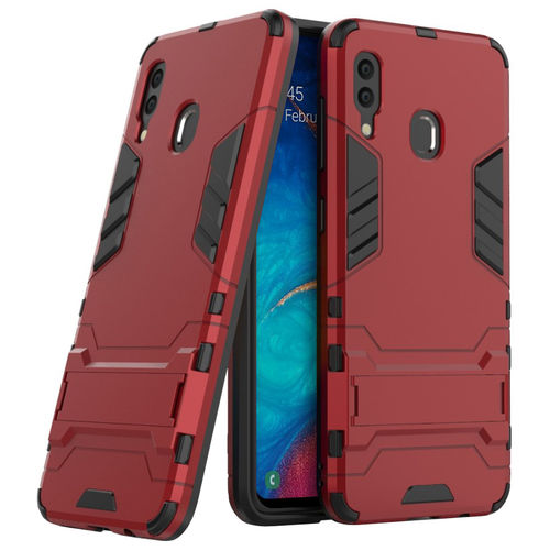 Slim Armour Tough Shockproof Case & Stand for Samsung Galaxy A20 / A30 - Red